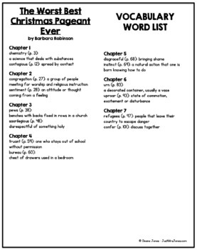 The Best Christmas Pageant Ever Vocabulary Word List