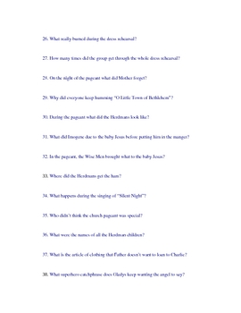 The  Best Christmas Pageant Every - study questions for test