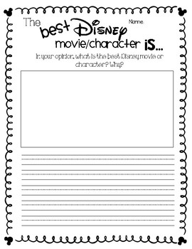 The Best Disney Movie/Character Is... Opinion Writing