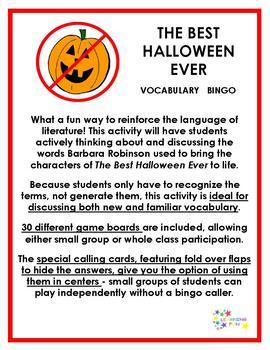 The Best Halloween Ever Vocabulary Bingo