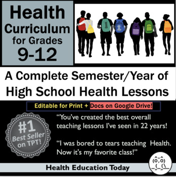 Health Curriculum High School 9-12: 183 Health Lessons for Full Semester or Year