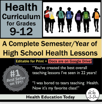 Health Lessons for High School 9-12: #1 Best-Selling Full Sem/Year Curriculum