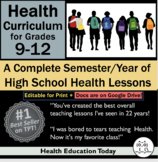 Health Lessons for High School 9-12th  #1 Best-Selling Full Sem/Year Curriculum