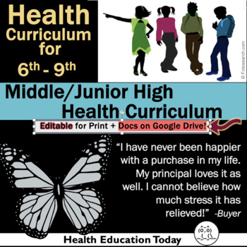 Middle School Health Lessons: 212 Lessons for 6th-9th Grade | Full Year Program