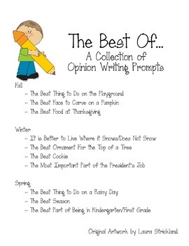 The Best Of... - Opinion Writing Prompt Set