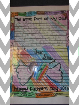 """The Best Part of Me"" Paper for Mother's/Father's Day Project"