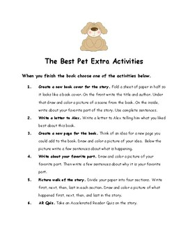 The Best Pet By Andrea Shavick Comprehension Packet and Extra Activities
