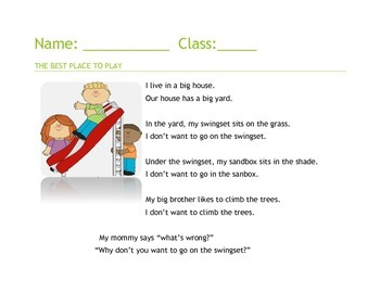 The Best Place to Play: Reading, Nouns, and Sight Words for grades 1-3