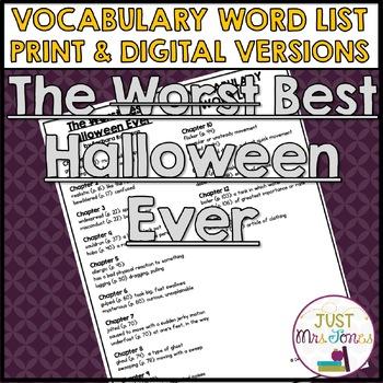 The Best Halloween Ever Vocabulary Word List