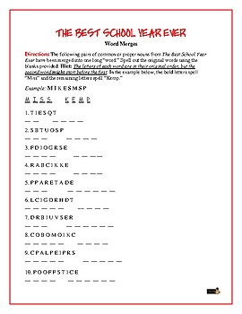 """The Best School Year Ever: 20 Word Merge Puzzles—One """"Word"""" Becomes Two!"""