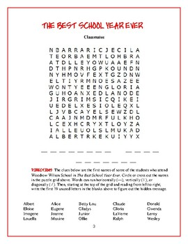 The Best School Year Ever: 3 Word Searches/3 Categories from the Book!