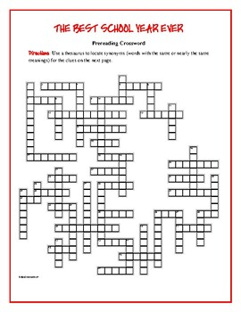 The Best School Year Ever: 50-word Prereading Crossword—Great for Extra Credit!