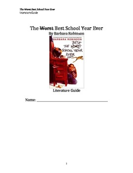 The Best School Year Ever Literature Guide