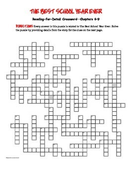 The Best School Year Ever: Reading for Detail Crossword Ch. 6-9—60 clues!