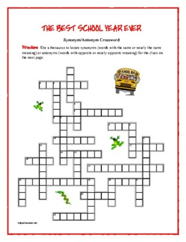 The Best School Year Ever: Synonym/Antonym Crossword—Use with Bookmarks Plus!