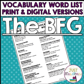 The BFG Vocabulary Word List