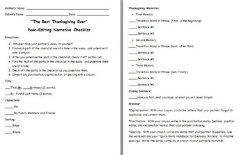 The Best Thanksgiving Ever Personal Narrative Peer-Editing Rubric