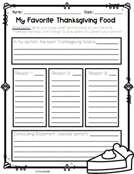 The Best Thanksgiving Food! An Opinion Writing Craftivity