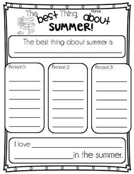 The Best Thing About Summer - Opinion Writing (Organizer & Final)