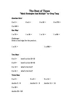 """The Best of Times"" by Greg Tang Math worksheets/activity"