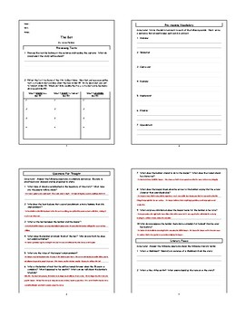 The Bet Anton by Anton Chekhov Lesson Plan, Worksheets, Questions with Key