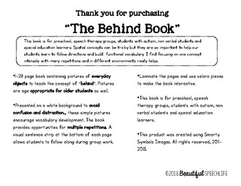 """The """"Behind"""" Book Adapted for Autism, Special Education & Speech"""