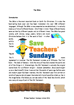 The Bible Lesson Plan, Information Text and Worksheets / Activity