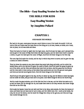 The Bible for Kids - Easy Reading Version