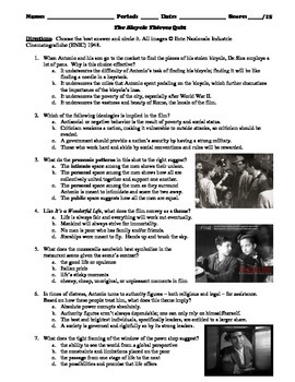 The Bicycle Thieves Film (1948) 15-Question Multiple Choice Quiz