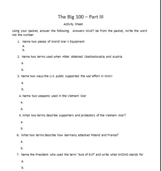 The Big 100 Part III - The Terms