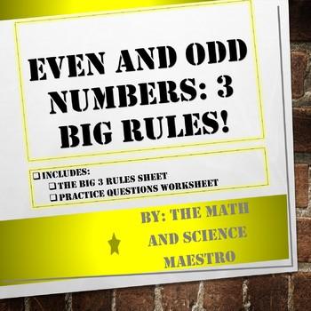 The Big 3! Even and Odd Rules VA SOL 2.4c, 5.3b