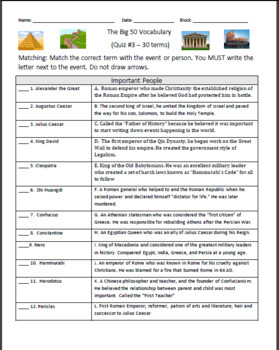 The Big 50 - Ancient History Review Lesson/Guide - Social Studies
