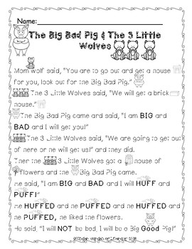 Reading-The Big Bad Pig and 3 Little Wolves