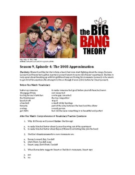 The Big Bang Theory Watch and Listen Worksheet