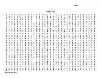 The Big Bang Vocabulary Word Search for Astronomy Students