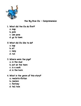 The Big Blue Ox Comprehension Test