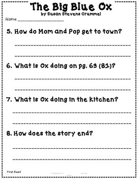 The Big Blue Ox Reading Street {Close Reading} 1st Grade Unit 1 Story 3 CCSS