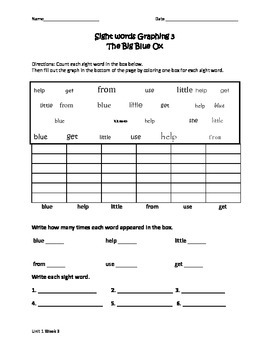 The Big Blue Ox Sight Words Graph