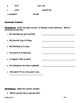 The Big Circle Phonics & Grammar:CVCe long o; Contractions; Days,Months,Holidays