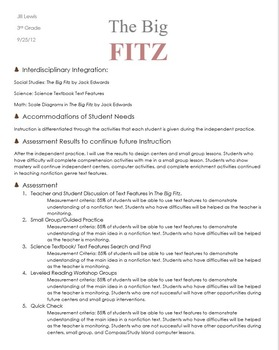 The Big Fitz Rigby Literacy Lesson Plan - Common Core Aligned - TEAM Model Eval