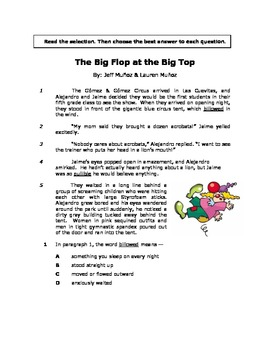 The Big Flop at the Big Top - Reading Passage/Reader's Theater/Math Extensions