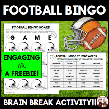 FREE The Big Football Game Bingo Activity for Students or Class