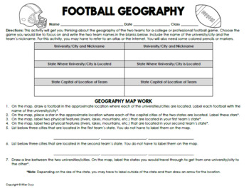 FREE Football Game Geography Worksheet Activity by Wise Guys | TpT