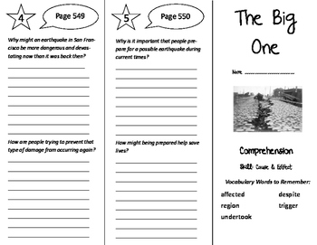 The Big One Trifold - California Treasures 6th Grade Unit 5 Week 3