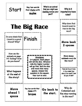"""""""The Big Race"""" Comprehension Game Board- Journeys story 1st grade"""