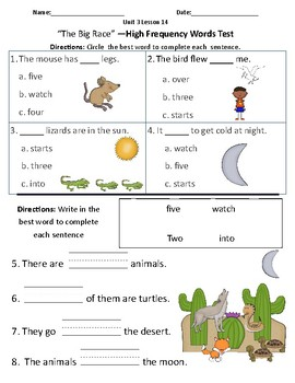 The Big Race - Vocabulary & Comprehension Test/Quiz (Journeys)
