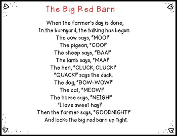 The Big Red Barn (Pocket Chart Activity)