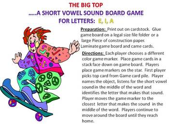 The Big Top - A middle short vowel sound game for a, e, i