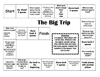 """The Big Trip"" Comprehension Game Board- Journeys story 1st grade"