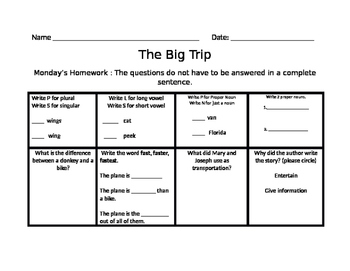 The Big Trip Homework